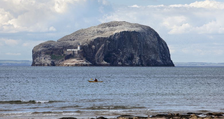 Bass Rock can be seen from most of the beaches in East Lothian