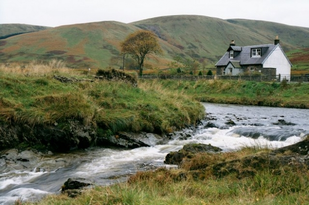 Ettrick Water with Crook Cottage in the background